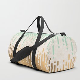 Marble and Geometric Diamond Drips, in Gold and Mint Duffle Bag