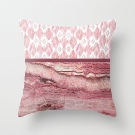 Mystic Stone Blush Harlequin Mix Throw Pillow