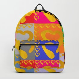 Gold Hearts on colorful Stamp Backpack
