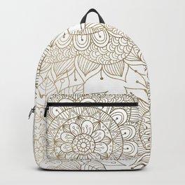 Elegant faux gold white spiritual floral mandala Backpack