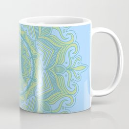 Blue and Green Flower Mandala Coffee Mug