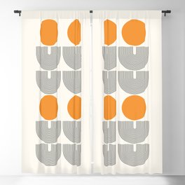 Mid Century Modern Geometric 66 in Black Gold Beige Blackout Curtain
