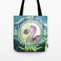 bill Tote Bags featuring Dodo Bill by Connie Goldman