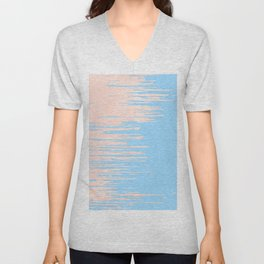 Carefree - Sweet Peach Coral Pink on Blue Raspberry Unisex V-Neck