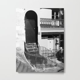 04 Black & White Door Metal Print