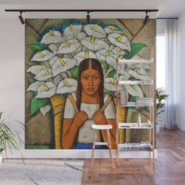 Young Guadalajara Flower Seller with Calla Lilies by Diego Rivera Wall Mural