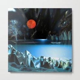 3d Art Digital Art Cave Lake Metal Print