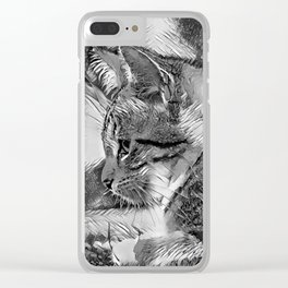 AnimalArtBW_Cat_20170915_by_JAMColorsSpecial Clear iPhone Case