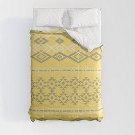 Pantone Yellow Grey Tribal  Comforters