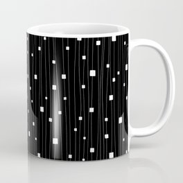 Squares and Vertical Stripes - Black and White - Hanging Coffee Mug