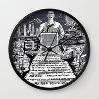 kerouac Wall Clocks featuring on the road - kerouac  by miles to go