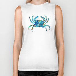 Blue Crab Art by Sharon Cummings Biker Tank