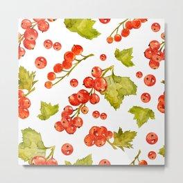 Red currant watercolor pattern Metal Print