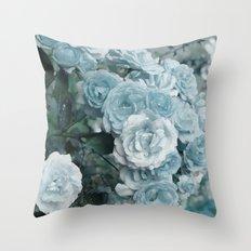 A cloud of blue roses Throw Pillow