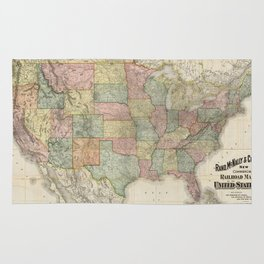 Vintage United States Railroad Map (1907) Rug