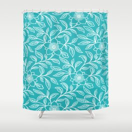 Aquamarine Lace Floral Shower Curtain