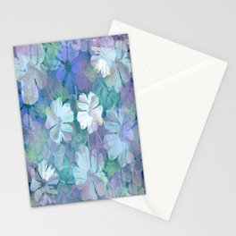 Painterly Midnight Floral Abstract Stationery Cards