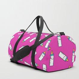 Pink baby feeding bottle pattern Duffle Bag
