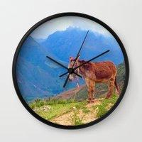 donkey Wall Clocks featuring Donkey by KA Doodle