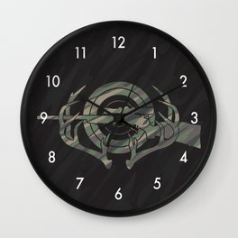 Camouflage Hunting and Shooting Sports Logo with Rifle, Buck Horns and Target Wall Clock
