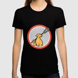 Dog Lacrosse Player Crosse Stick Cartoon Circle T-shirt