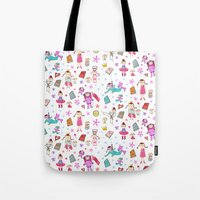 girl power Tote Bags featuring Girl Power by Art Tree Designs