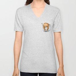 Sloth in a Pocket Unisex V-Neck