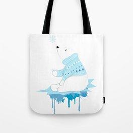Polar bear with snowflakes Tote Bag