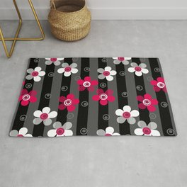 Crimson and white flowers on a black striped background Rug