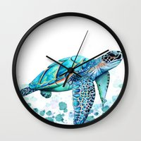 sea turtle Wall Clocks featuring Turtle by Ismay Verbeek