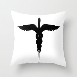 Caduceus Medical Symbol Isolated Throw Pillow