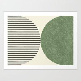 Semicircle Stripes - Green Art Print