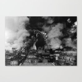 Old Time Godzilla San Francisco Fire Canvas Print