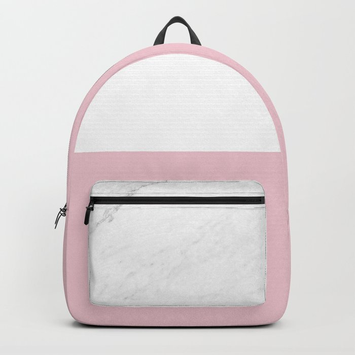 Marble Dusty Pink White Color Block Modern Geometry Backpack