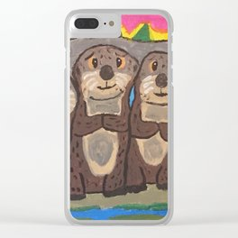 Otter Cuddle Party Clear iPhone Case
