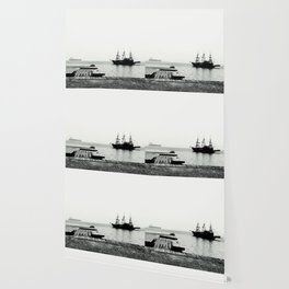 ships on a calm sea black and white Wallpaper