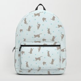 Polka Dot Cats in Blue Backpack