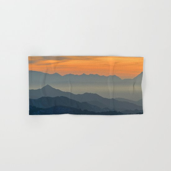 Mountains. Foggy sunset Hand & Bath Towel