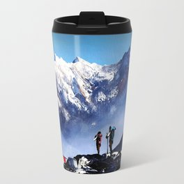 Panoramic View Of Ama Dablam Peak Everest Mountain Travel Mug