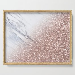 Blush Pink Sparkles on White and Gray Marble V Serving Tray