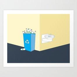 Recycling Water Bottles Art Print