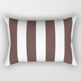 Dark Brown Granite and White Wide Vertical Cabana Tent Stripe Rectangular Pillow