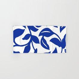 PALM LEAF VINE SWIRL BLUE AND WHITE PATTERN Hand & Bath Towel