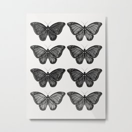 Monarch Butterfly - Black and White Metal Print