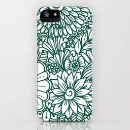 Hand drawn forest green white modern floral iPhone Case