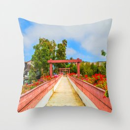 Pink Bridge Throw Pillow