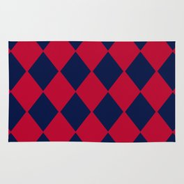 Red blue geometric pattern Rug