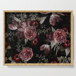 Dutch Vintage Midnight Roses Bouquets Pattern Serving Tray