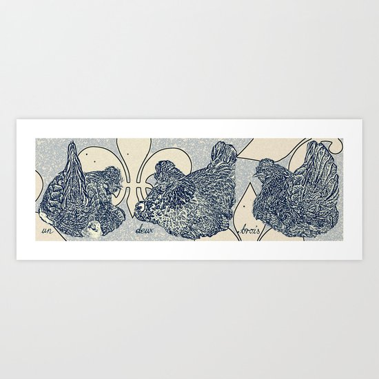 3 French Hens - 12 Days of Christmas Series Art Print