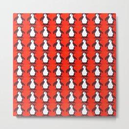Penguin Knit Metal Print